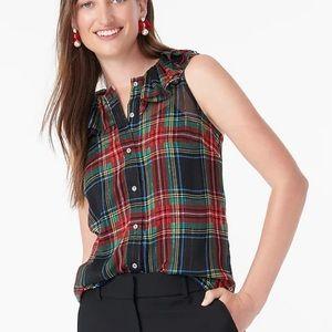 J.Crew Sleeveless ruffle-collar top Stewart tartan